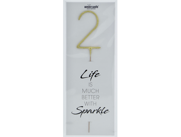 2 gold Giant Wondercandle® Life is much better with sparkle 498