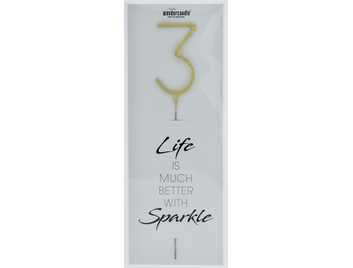 3 gold Giant Wondercandle® Life is much better with sparkle 498
