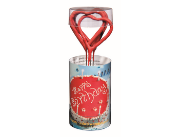 Herz rot 3333 Happy Birthday Wondercandle® mini 4er Set