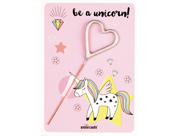 Be a unicorn! rosa 266 Herz silber Mini Wondercard®